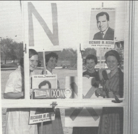 Four Goucher students suppport Richard Nixon during the election of '68. (Photo: History of Goucher College 1930-1985.)