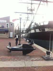 Samantha Jones poses by an anchor in the inner harbor. Photo: Samantha Jones