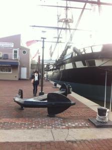 Samantha Jones poses by an anchor in the inner harbor. Photo: Samantha Jones