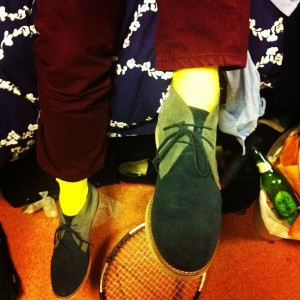 Ben Snyder '13 rocking blue suede desert boots. (Photo: Rebecca Bell)