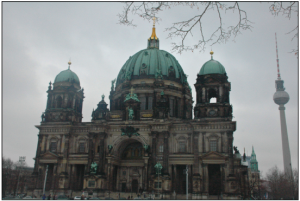 "The Berliner Dom, located on Museum Island is one of the only remaining cathedrals in Berlin. ""Every time I go to Museum Island I have to take a picture of the Berliner Dom. It's so striking and beautiful and some how embodies the rich history of Berlin.""-Peiser"