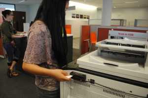 Student using new Swpie-to-Print system in the Library. (Photo: Rachel Brustein)