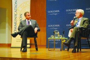New York Times columnist Frank Bruni engaged in conversation with President Sandford Ungar. [Photo: Zoe Malkin]