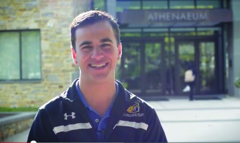 Joey Fink '15 speaks in a welcome video on the Search Committee's website. (Photo: Screen grab from campaign video)