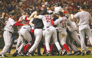 The Boston Red Sox cheer after beating the St. Louis Cardinals 4 games to 2 at the World Series (Photo: Google Images)