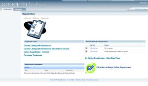 MyGoucher registration page. (Photo: Screen grab from MyGoucher)