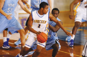 Men's Basketball playing a home game against Johns Hopkins University. (Photo: Goucher Athletics Website)