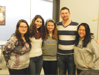 Members of Goucher's Rotaract club in the Athenaeum posing for a picture (Photo: Tori Russel)