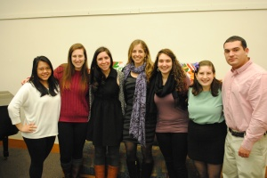 Students posing with Rachel Laser after her speech to the community. (Photo: Rachel Brustein)