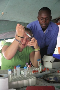 Couraud doing some chemical tests on a Hyena DNA sample (Photo: Hadley Couraud)