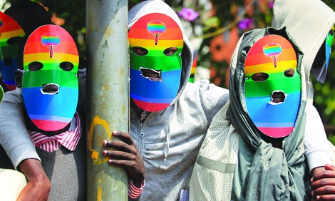 Kenyan activists protest outside the Ugandan high commision over the country's anti-gay bill (Photo: Google Images)