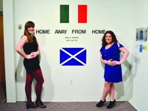 Sara Nuttle '14 and Ariella Rodban '14 at their show opening in Meyerhoff Art Gallery (Photo courtesy of Ariella Rodban)