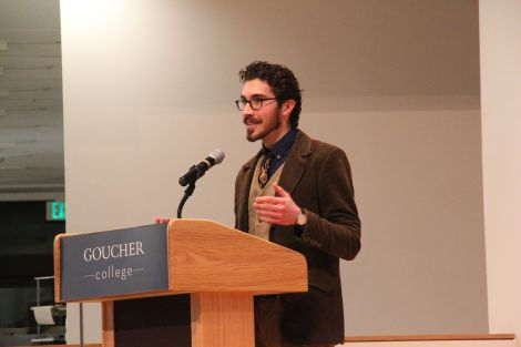 Billy Daly '16 speaking to the Goucher community about the proposed constitution (Photo: Chrisotpher Riley)