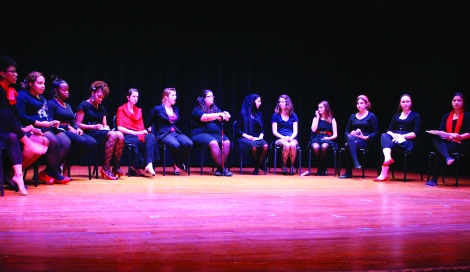 Cast of the Vagina Monologues performing on stage in the Haebler Chapel (Photo: Nora Morgan)