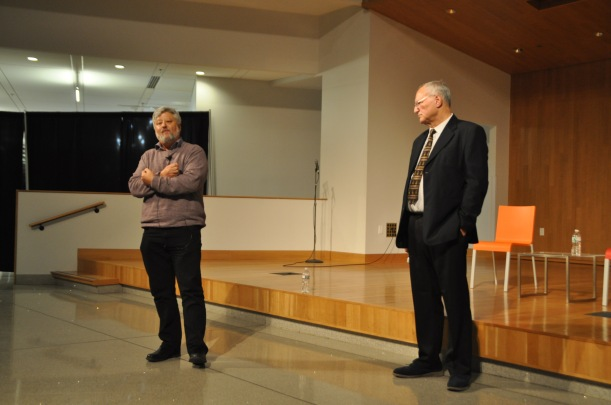 Dr. Baskin and Professor Dajani discuss the Israeli-Palestinian conflict in the Hyman Forum. Photo by Rachel Brustein